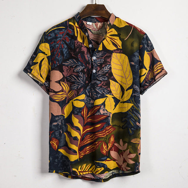 Printed Stand Collar Cotton Shirt - Men's Essential Store
