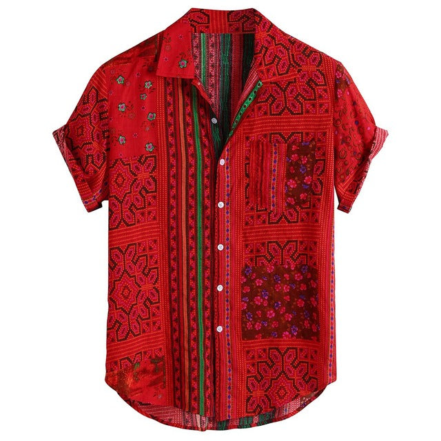 Printed Turn Down Collar Short Sleeve Casual Shirts - Men's Essential Store