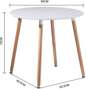 EGGREE Round Top Dining Table | Kitchen Table with Solid Beech Legs | Wood Table | White | Black | 80 x 80 x 73 cm
