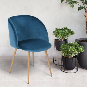 EGGREE Dining Chairs | Vintage Velvet Armchairs | Accent Chairs for Living Room Bedroom Kitchen with Metal Chair Legs | Rosa | Cactus Green | Grey | Blue