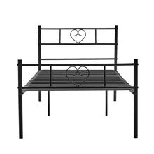 Load image into Gallery viewer, EGGREE Heart-Shape Single Bed | Double Bed | Metal Bed Base | Black