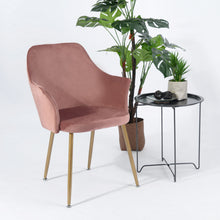 Load image into Gallery viewer, EGGREE Soft Velvet Armchair | Dining Chair | Dressing Chair | Padded Seat and Metal Legs | Cactus Green | Rose