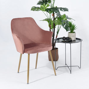EGGREE Soft Velvet Armchair | Dining Chair | Dressing Chair | Padded Seat and Metal Legs | Cactus Green | Rose