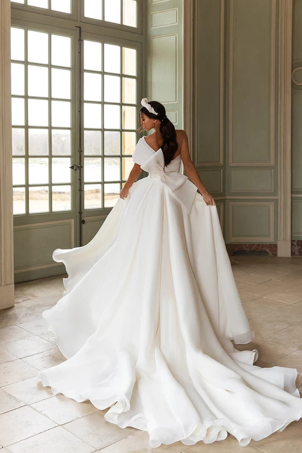 Adored Class Bow Satin Wedding Dress - luxebabyco