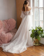 Puffy Sleeve Dot Tulle Wedding Dresses - luxebabyco
