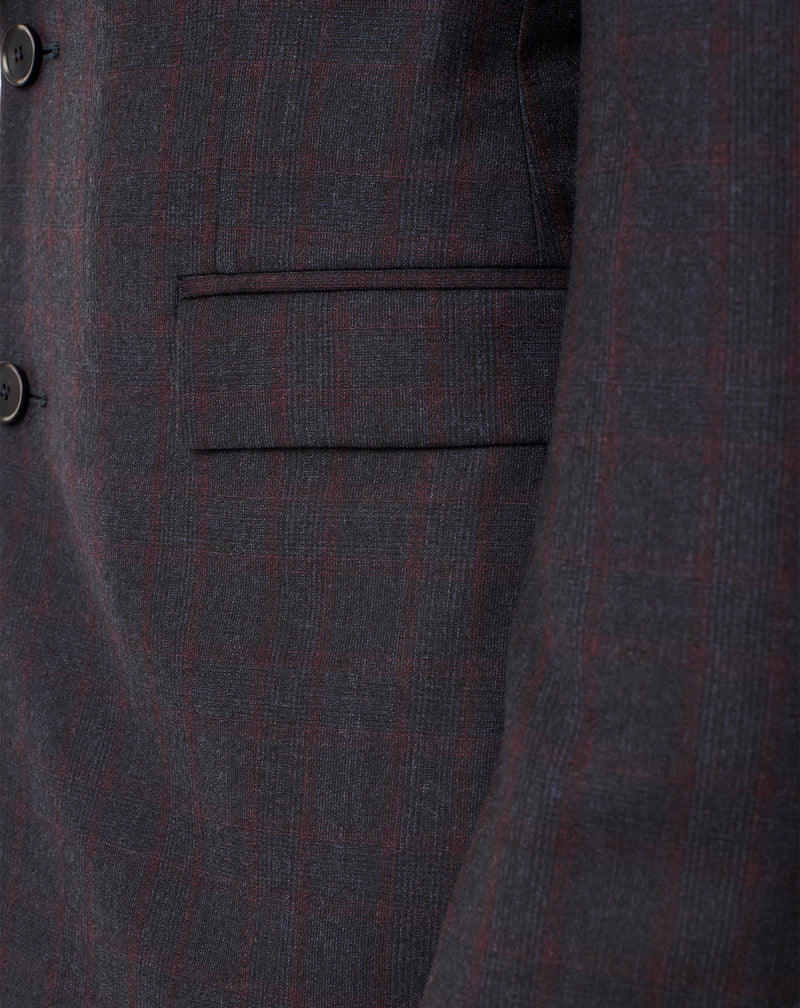 Navy/Bordeaux checkered suit with notched collar LONDRES