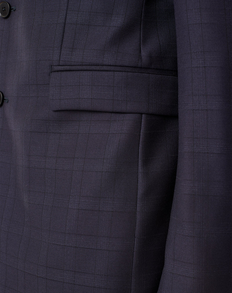 Navy stretch wool checkered suit with notched collar ELYSEE