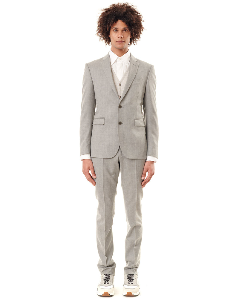 Costume col cranté LONDRES laine stretch gris clair