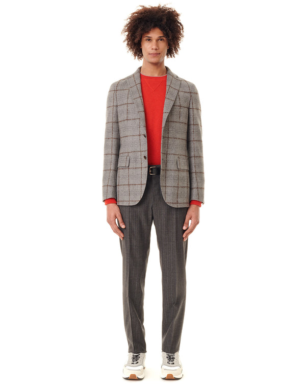 Destructured jacket with grey/brown checks MONTECARLO