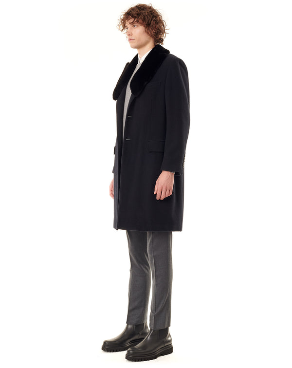 Midnight blue Cashmere coat with beaver collar SHERMAN