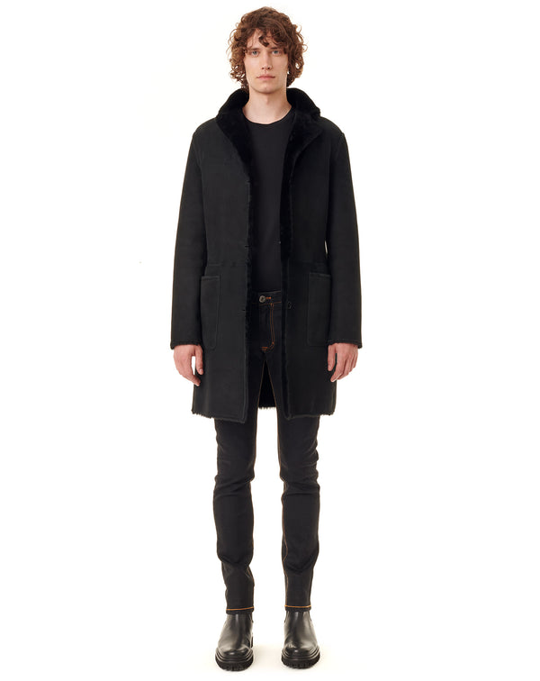 Black reversible woollen coat AIDAN