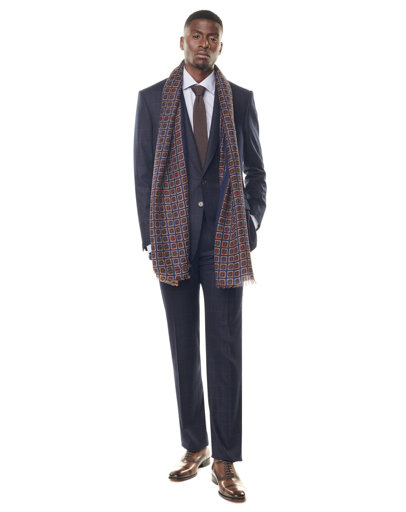 Super 170s navy/brown checkered suit with a tip collar MANUELE