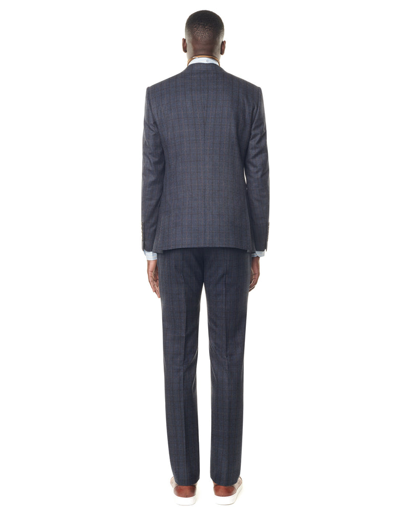 Navy/black checkered suit with a notched collar MURANO