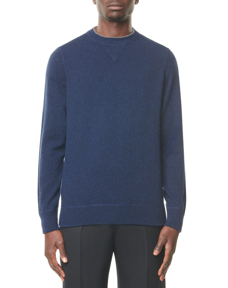 Mottled blue round neck jumper in cashmere QUARTO