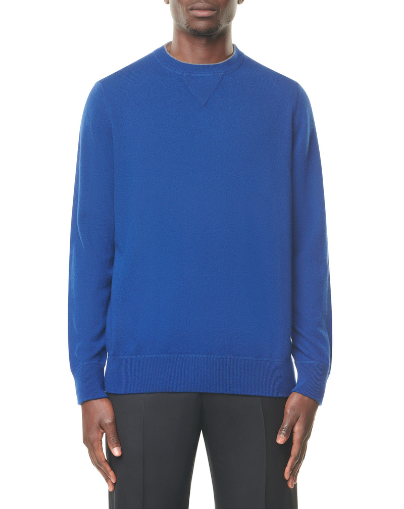 Royal blue round neck jumper in cashmere QUARTO