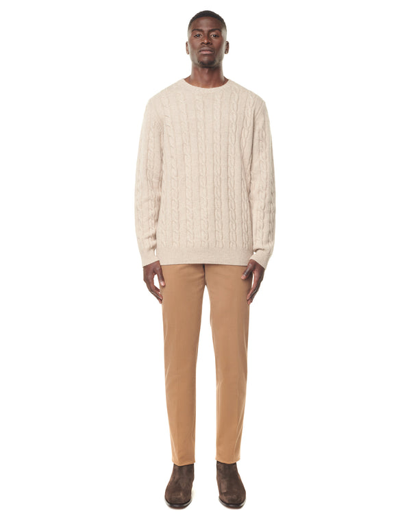 Ecru round neck twisted jumper in cashmere QUIRICO
