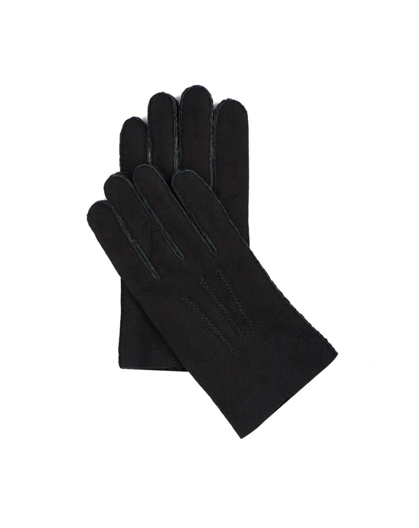 Black woolly skin gloves Alpanache