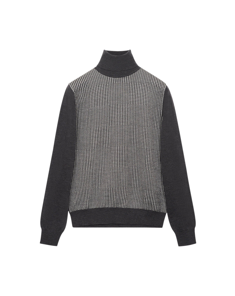 Grey/white Jacquard turtleneck jumper in wool MAKSEN