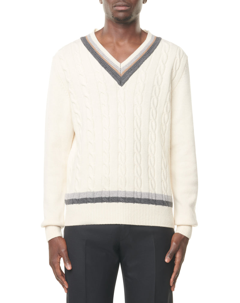 Ecru/grey/camel V-neck twisted jumper in wool and cashmere MERICK