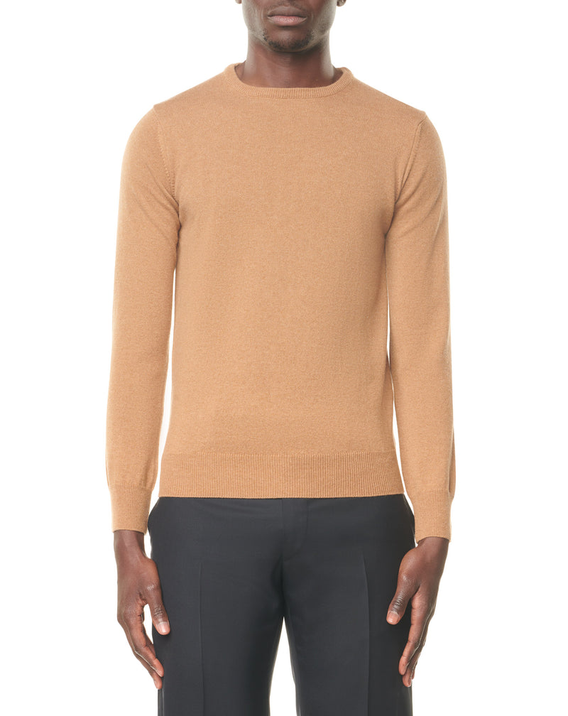 Camel round neck jumper in cashmere MOHCEN
