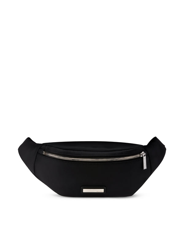 Black bum bag nylon and leather HANS