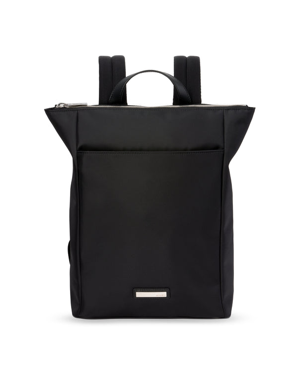 Nylon and leather black backpack HUEZ