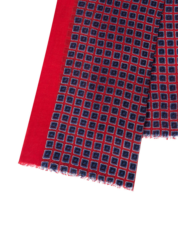 Navy/red/white wool printed stole 70cm/200cm Ablis