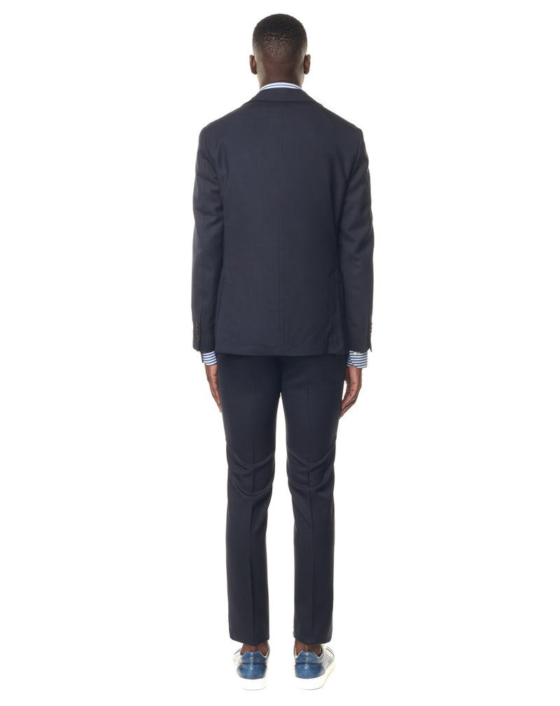 Plain navy stretch wool destructured suit MONTECARLO