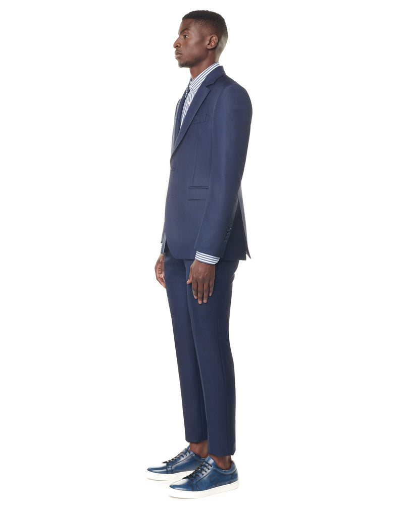 Navy caviar suit with notched collar ELYSEE