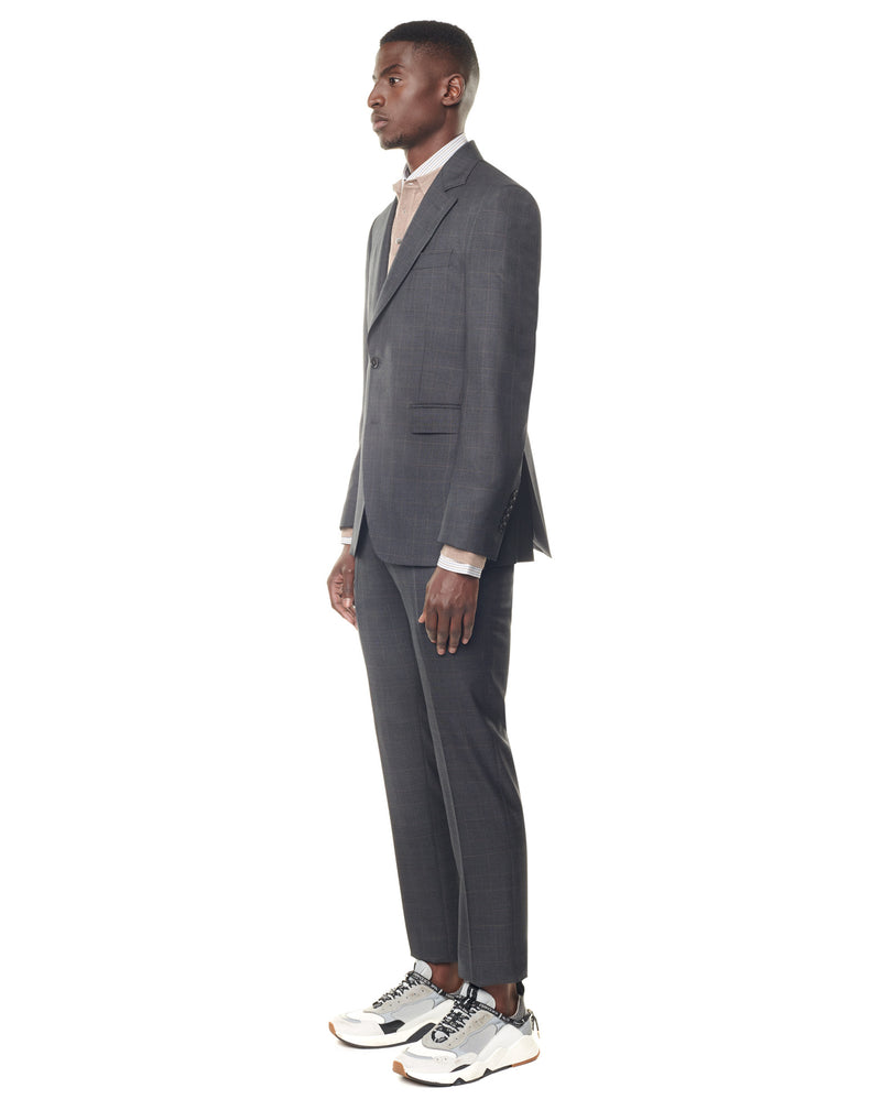 Grey super 150s suit with brown checks and notched collar ELYSEE