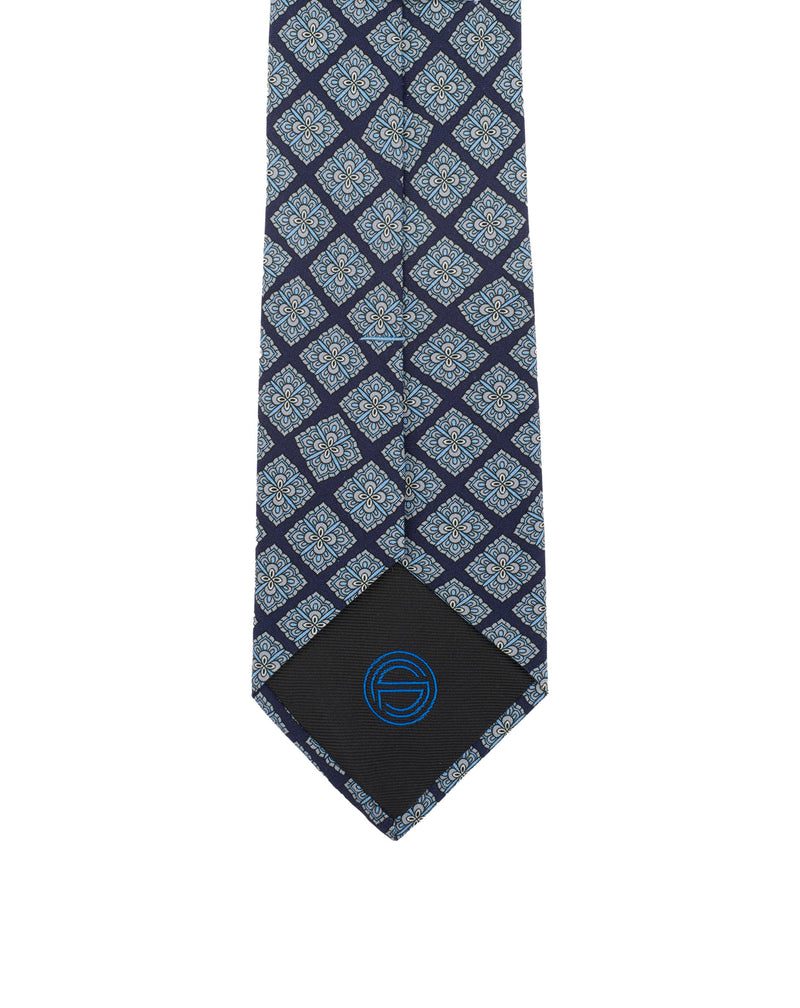 Navy and sky blue patterns silk tie