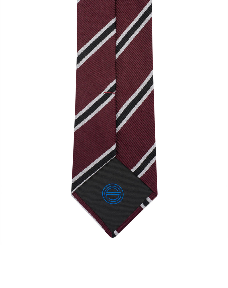 Burgundy navy and white Club stripes silk tie Adol