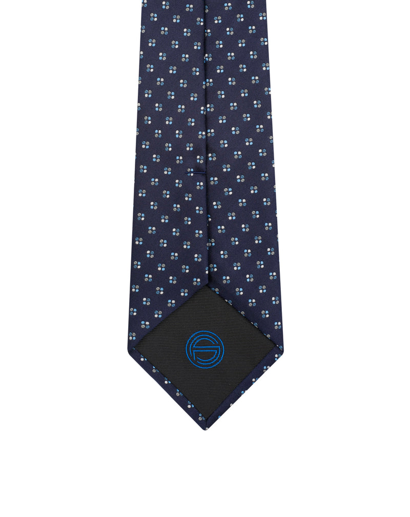 Navy and sky blue patterns silk tie Adol