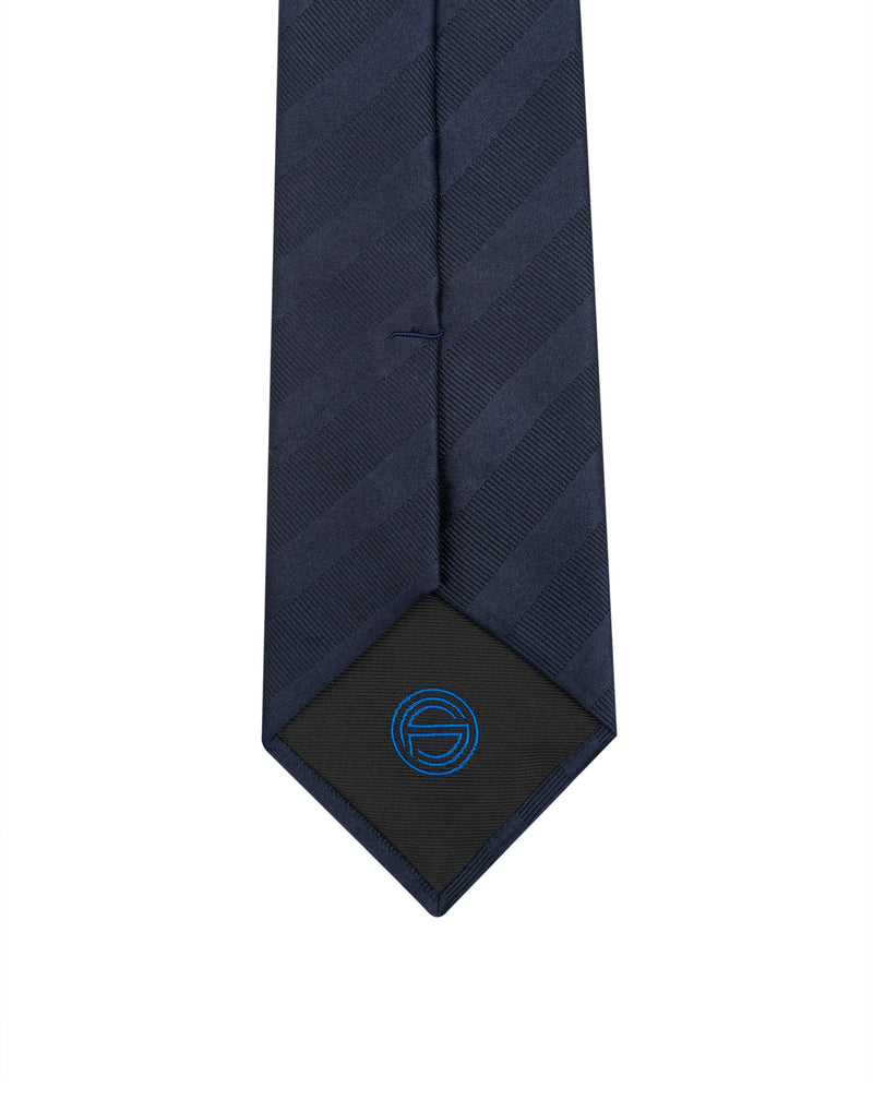 Navy Club stripes silk Jacquard tie Angelo