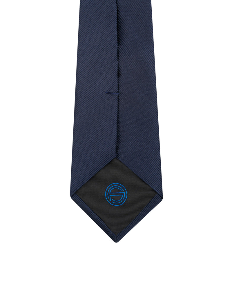 Blue silk Jacquard and cotton tie Angelo with oblique streaks