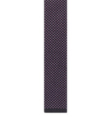 Night blue patterns silk knit tie Anglad