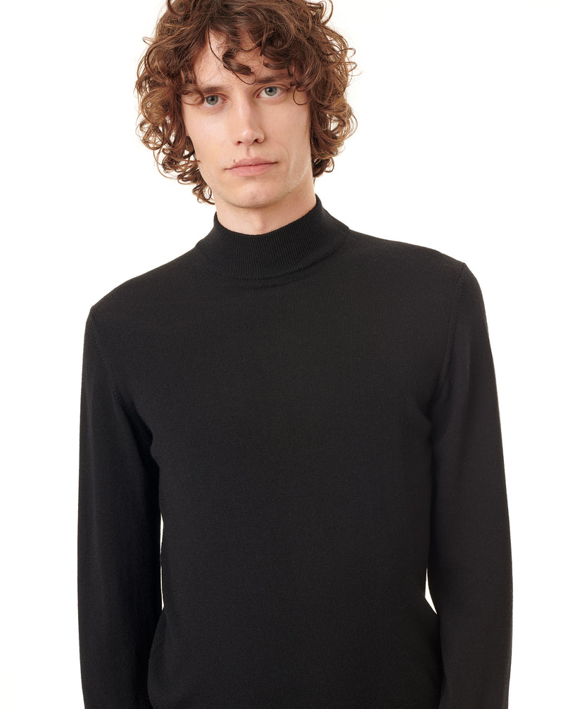 Black turtleneck jumper in wool MACEO