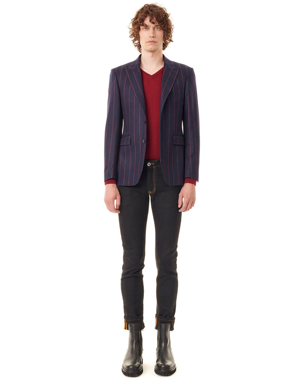 Tip collar jacket with navy/red stripes CAPRIO