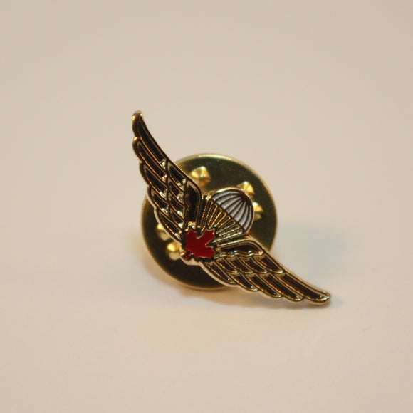Canadian/Canada Airborne Jump Wings, Red Leaf, Basic Parachutist, Lapel Pin