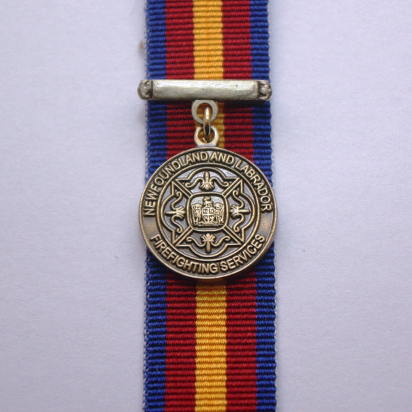 Newfoundland Firefighting Service Long Service Medal, Miniature
