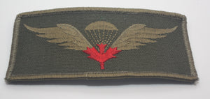 Canadian Airborne Jump Wings, Red Leaf, Cloth-Subdued