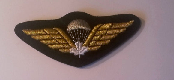 Canadian Airborne Jump Wings, White Leaf, Cloth-Gold Bullion