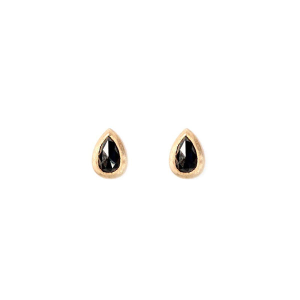 BLACK DIAMOND PEAR STUDS