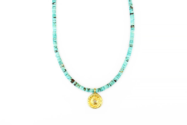 Gold Coin Turquoise Necklace