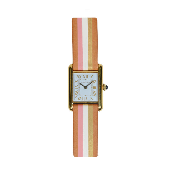 SMALL CARTIER TANK WATCH, PASTEL BLUE GILT
