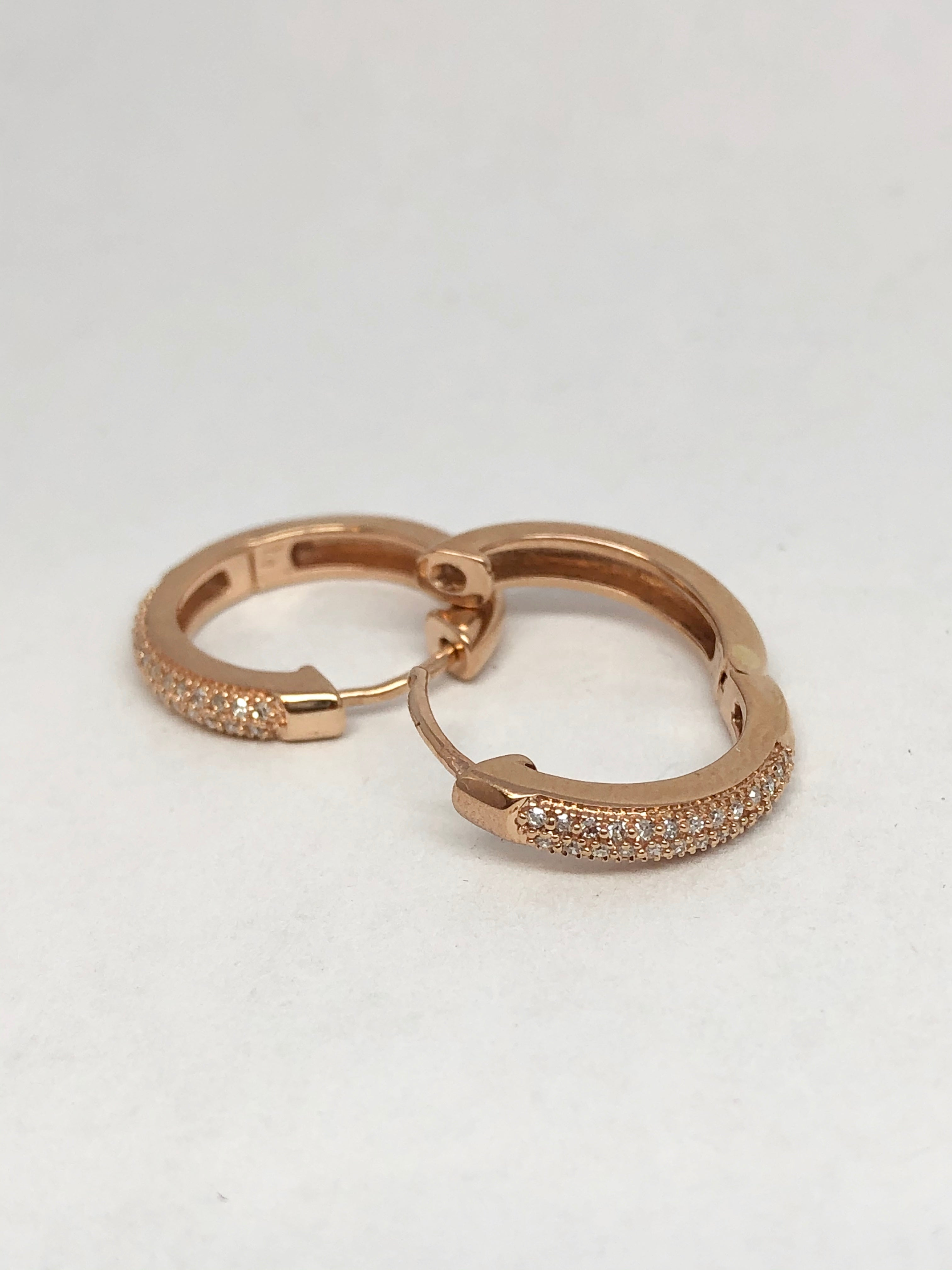 Rose Gold 10kt Diamond Huggie Earrings