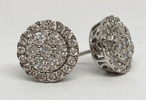 14kt White Gold Round Cluster Earrings