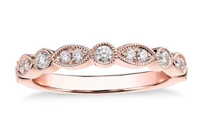 14 karat Rose/White/or Yellow Gold Scallop Diamond Band