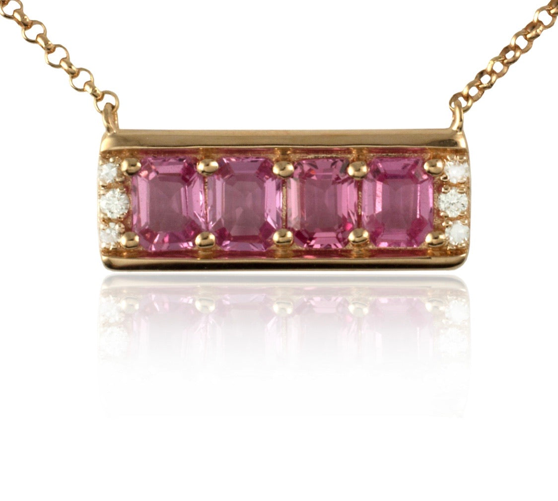 Diamond and Fancy Pink Sapphire Bar Pendant