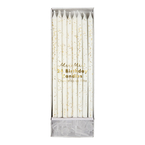 24 gold glitter covered birthday candles by meri meri